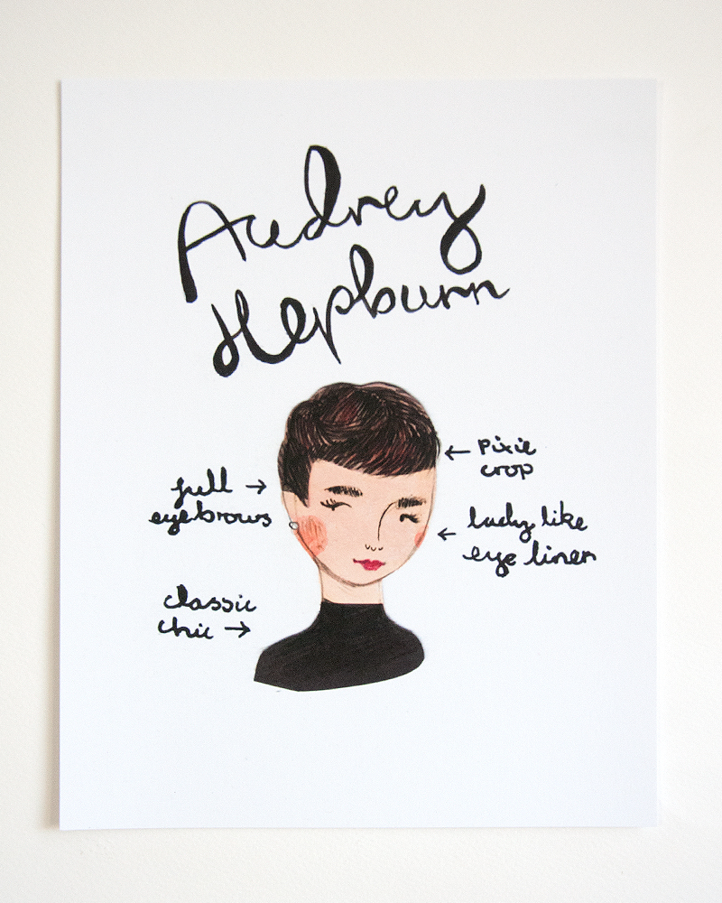 emma block illustrated audrey hepburn print