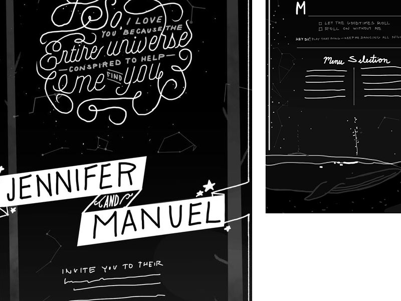 Jenn and Manuel's custom wedding stationery by Stephanie Shafer of Jolly Edition