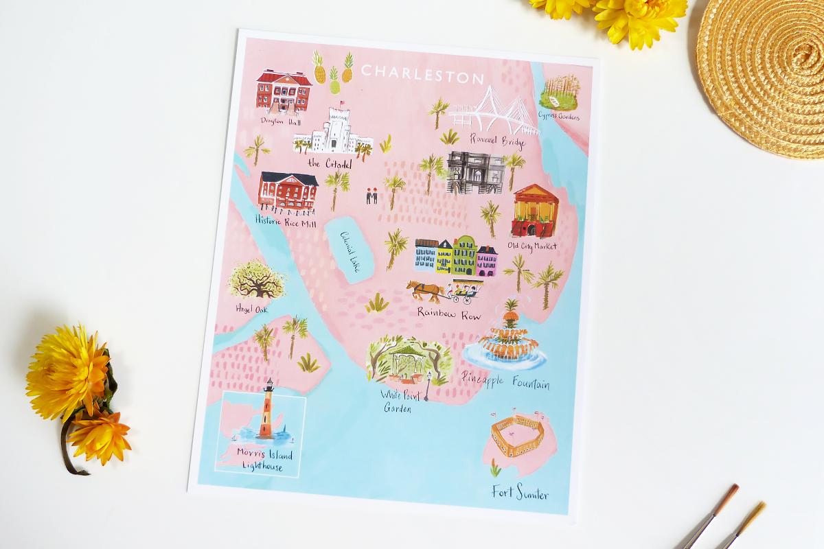 Charleston Map Print Jolly Edition Illustration And Stationery