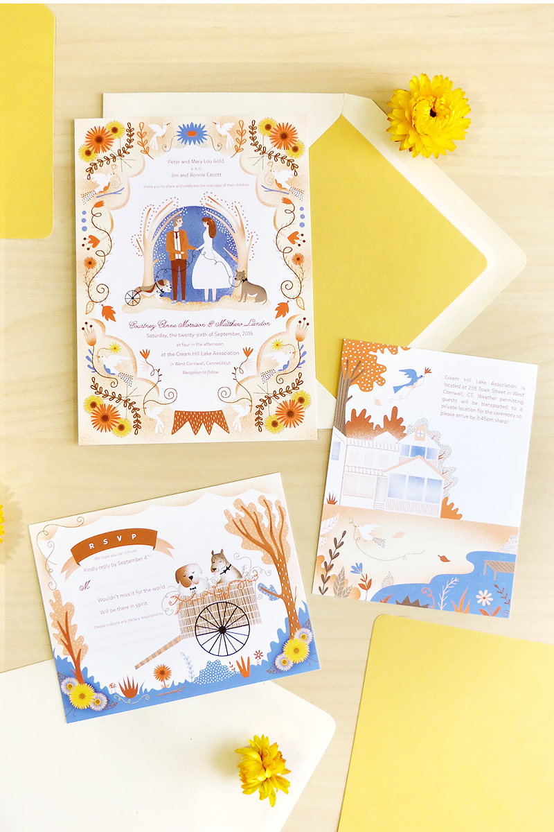 Courtney & Matthew's custom illustrated wedding stationery with bulldog and pitbull for rustic farm wedding by Jolly Edition & Sarah Andreacchio