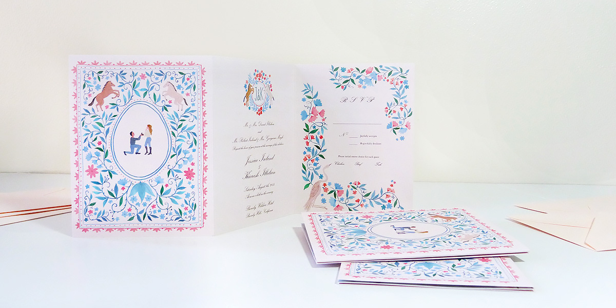 Jessica & Kia's custom wedding invitation fold out booklet with illustrated custom map by Jolly Edition and Vikki Chu