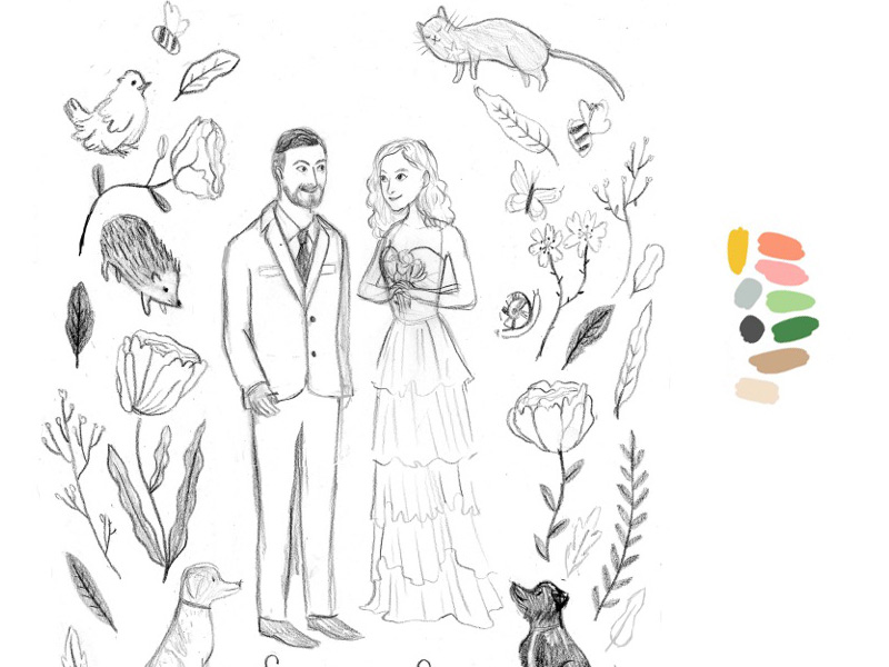Serena & Simone Custom Wedding Stationery Drawing by Jolly Edition & Katie Harnett