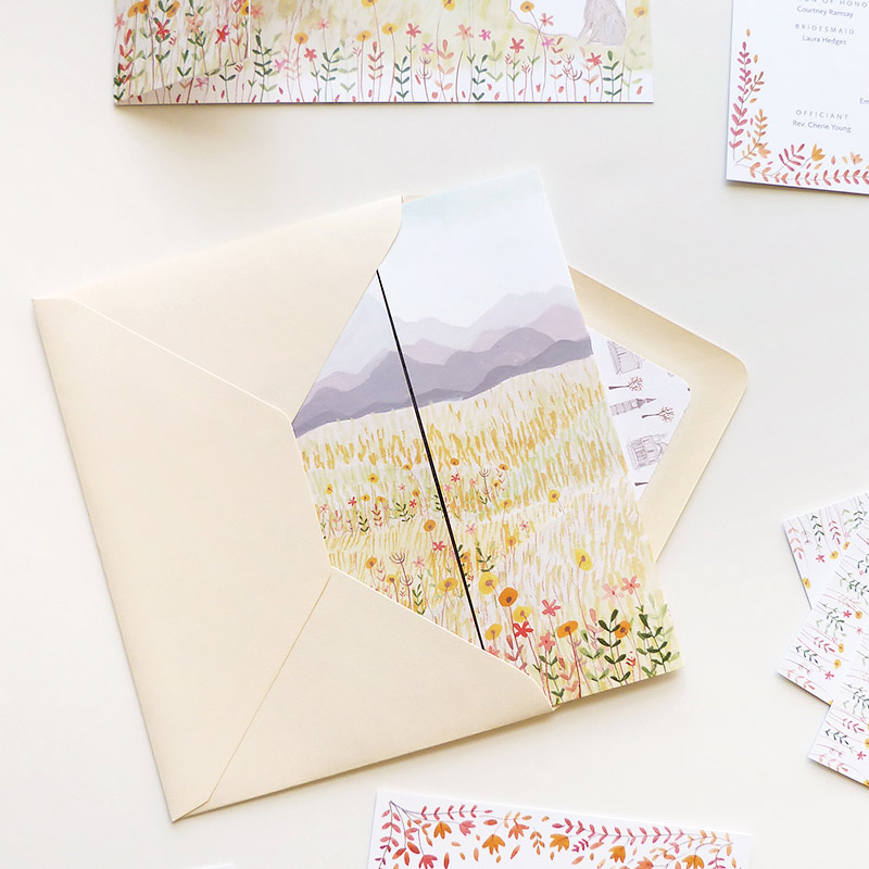 Darcy and Rob's custom wedding stationery design by Jolly Edition