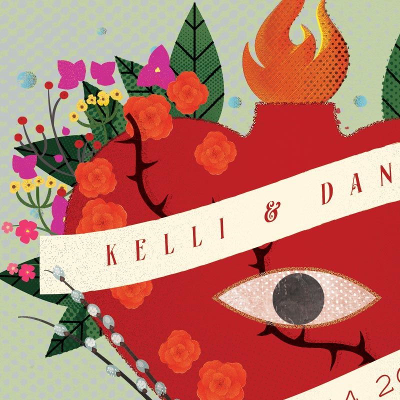 Kelli & Dan's custom save the date design by Jolly Edition