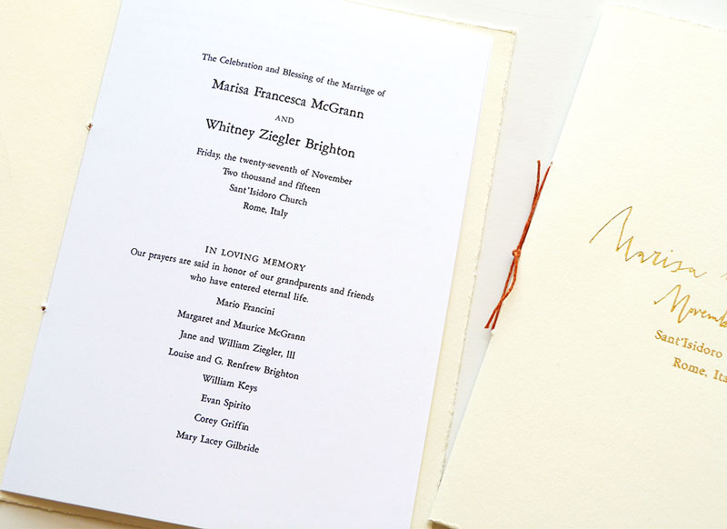 Jolly Edition custom wedding stationery, gold foil letter press and hand-deckled rustic wedding programs by Laura Shema