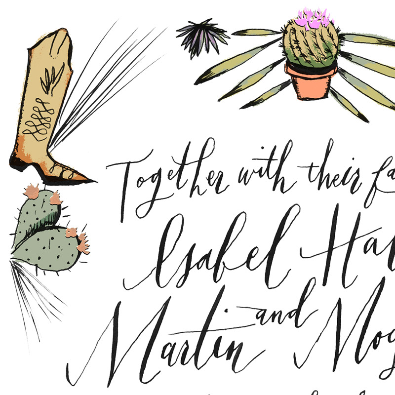 Isabel and Martin custom wedding stationery design by Jolly Edition