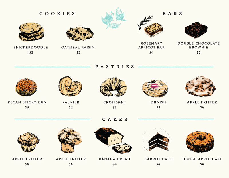 Park Cafe & Coffee Bar brand collateral design - Pastry guide / menu by Jolly Edition
