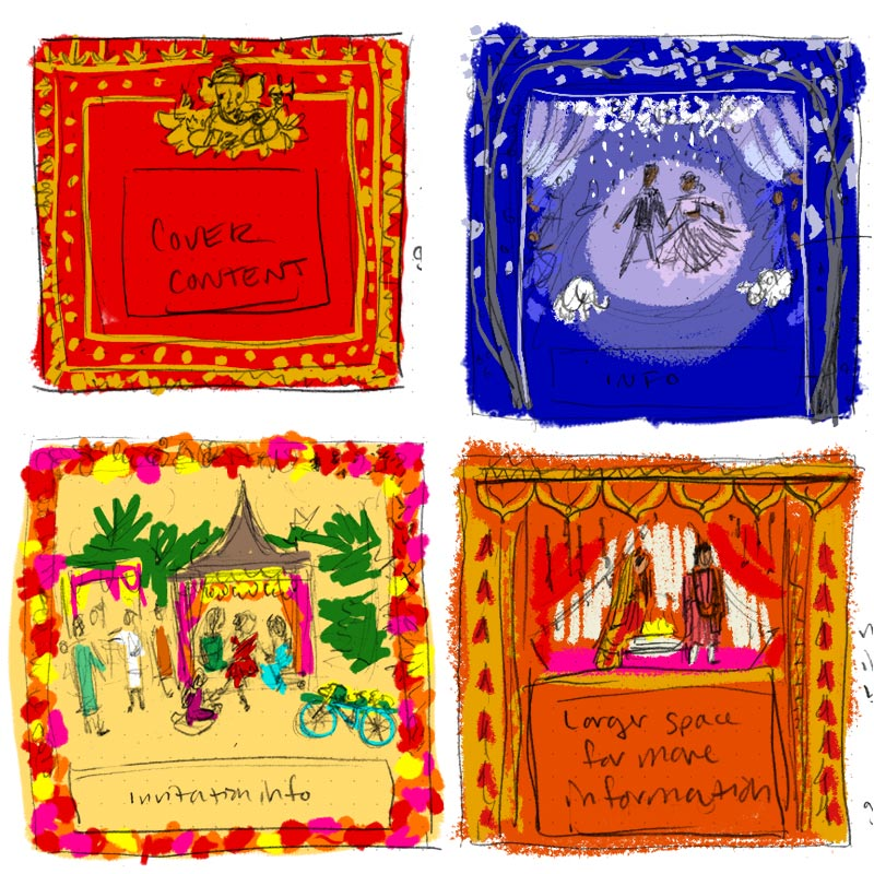 Mala and Praveen's custom stationery design progress by Jolly Edition