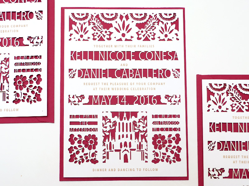 mexican cut out wedding invitations illustrated by Laura Shema for Jolly Edition