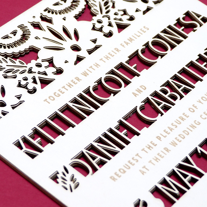 laser cut mexican inspired invitations illustrated by Laura Shema for Jolly Edition