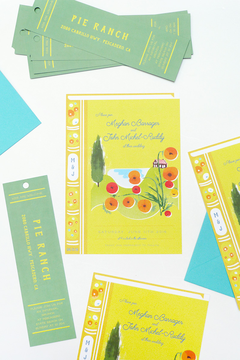 book format westcoat farm wedding invitations illustrated by Laura Shema for Jolly Edition