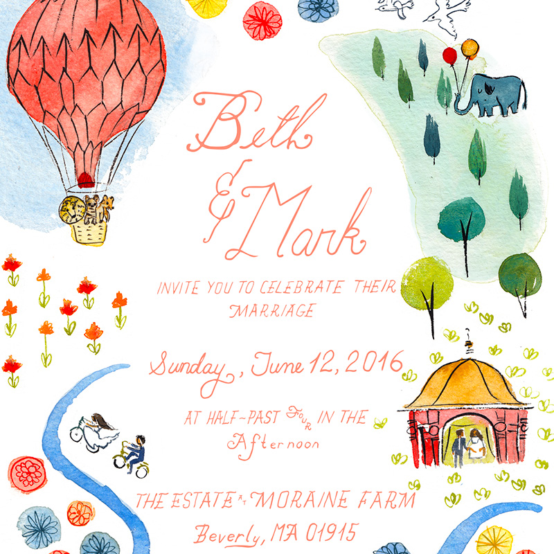 Fun retro fair inspired wedding invitation illustrated by Laura Shema for Jolly Edition