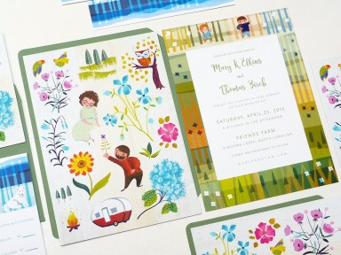 illustrated wedding stationery portrait illustrated by Laura Shema for Jolly Edition