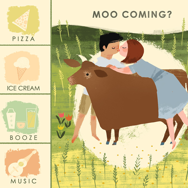 Australian cow save the date illustrated by Laura Shema for Jolly Edition