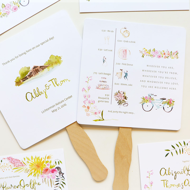 May 2016 Blog Post. The Lichterman Center, Tennessee custom wedding invitations and program fan with illustrated timeline. illustrated by Laura Shema for Jolly Edition.