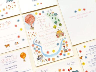 Fun retro fair inspired wedding invitation illustrated by Laura Shema for Jolly Edition