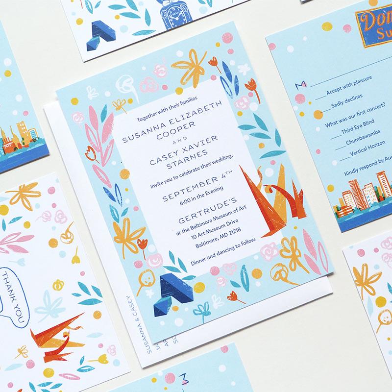 May 2016 Blog Post. Modern art, Boston / Baltimore wedding invitation. illustrated by Ana Petrak for Jolly Edition.