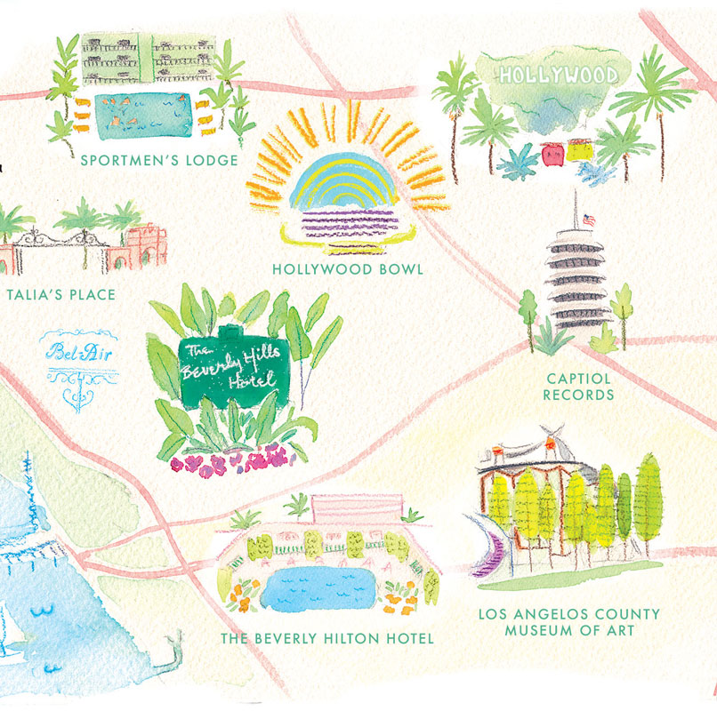 Los Angelos, Hollywood map illustrated by Laura Shema for Jolly Edition
