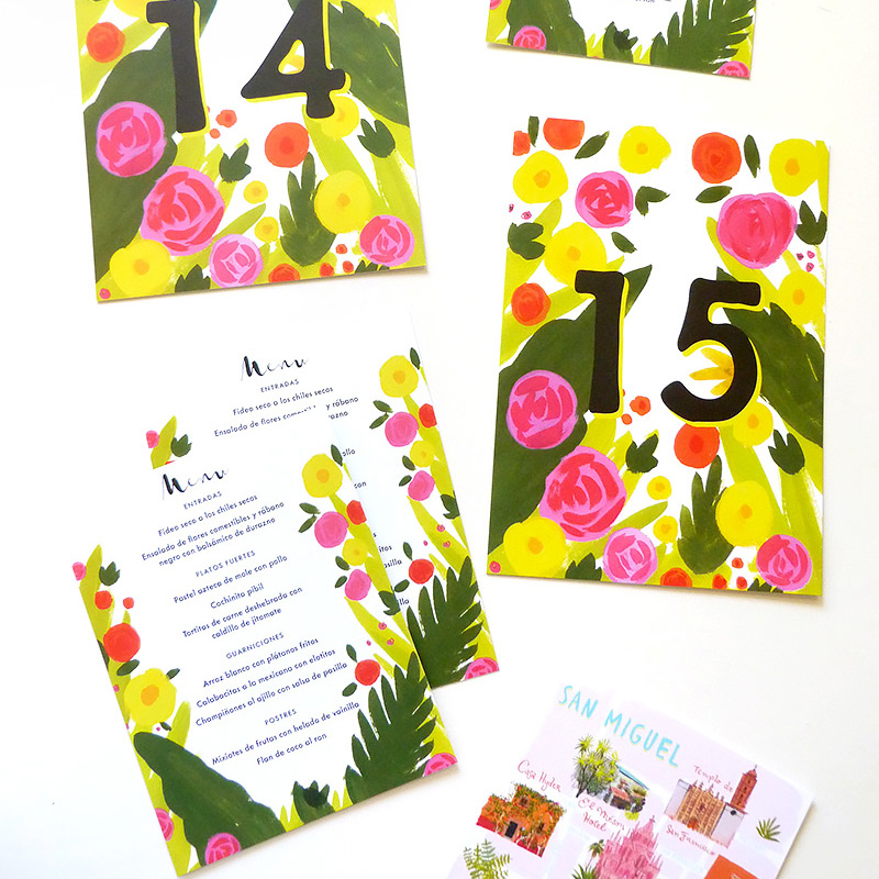 May 2016 Blog Post. San MIguel wedding table numbers, map and menus. illustrated by Laura Shema for Jolly Edition.
