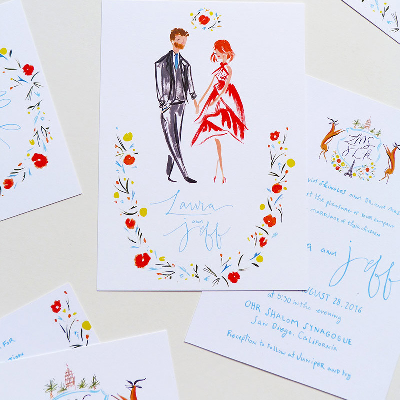 May 2016 Blog Post. Fashion inspired portrait wedding invitation illustrated by Laura Shema for Jolly Edition.