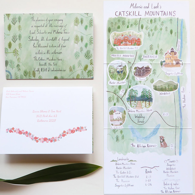 May 2016 Blog Post. Adirondack inspired wedding invitation illustrated by Katie Harnett for Jolly Edition. Custom fold-out map of the Catskills.