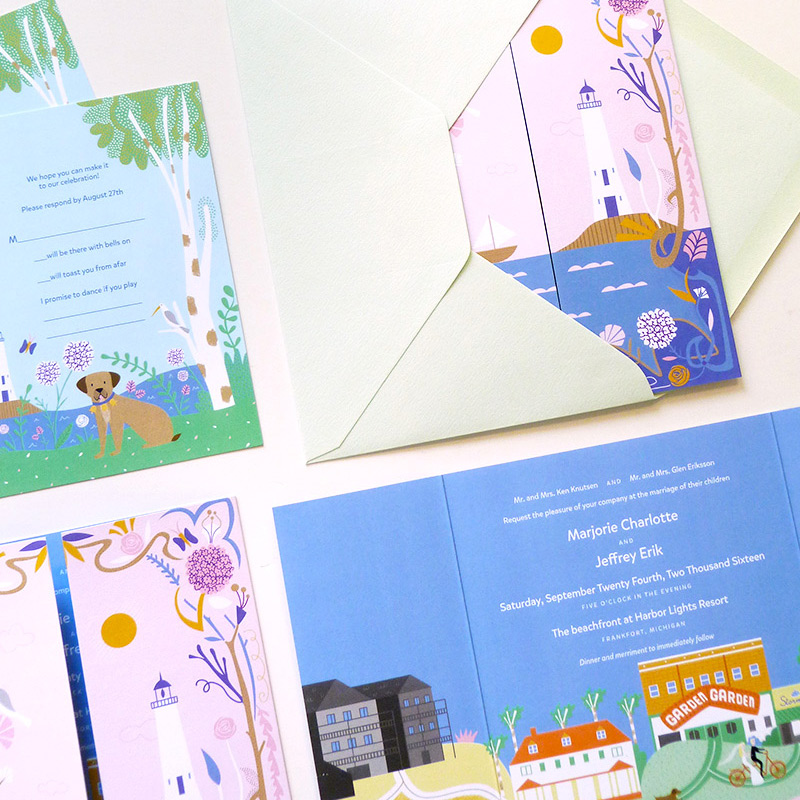 May 2016 Blog Post. Michigan harbor wedding invitation illustrated by Sarah Andreacchio for Jolly Edition.