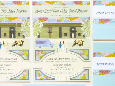 Rad brooklyn story book inspired wedding invitation illustrated by Laura Shema for Jolly Edition