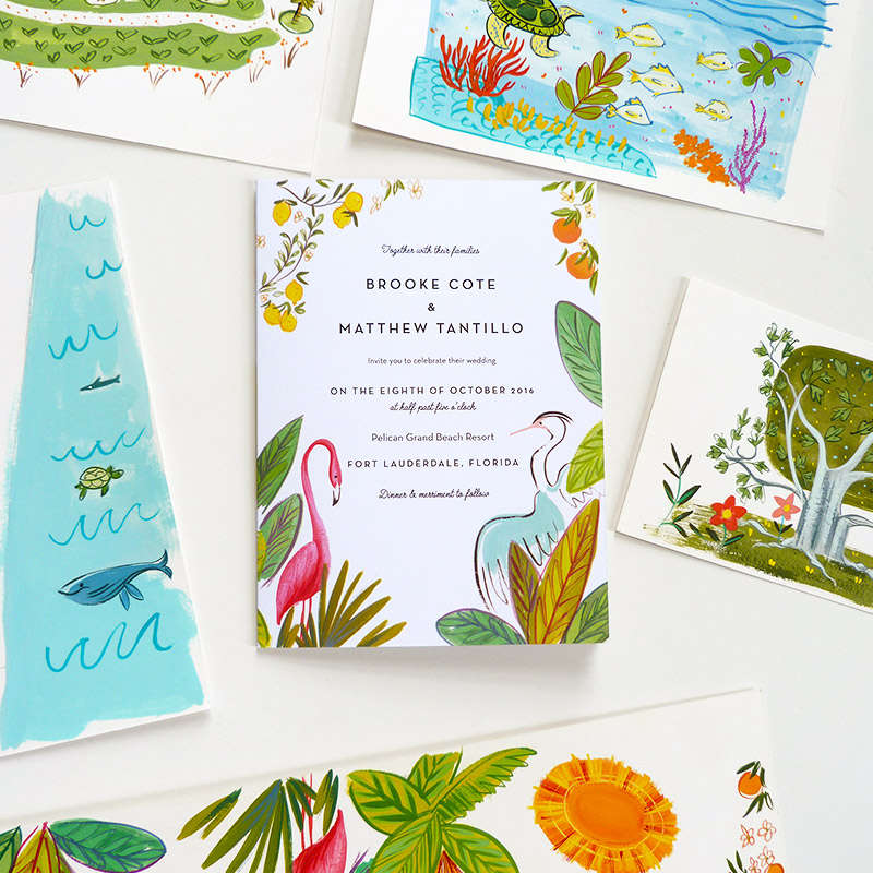 Jolly Edition June 2016 Blog Post. Tri-fold Floridian retro jungle invitation, rsvp and map. illustation by Laura Shema