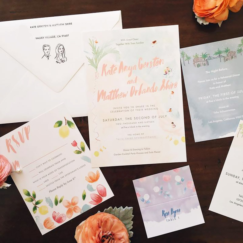Los Angelos, Hollywood invitations, rsvp, table cards and rehearsal invitation for Kate Gersten and Matthew Shire illustrated by Laura Shema for Jolly Edition