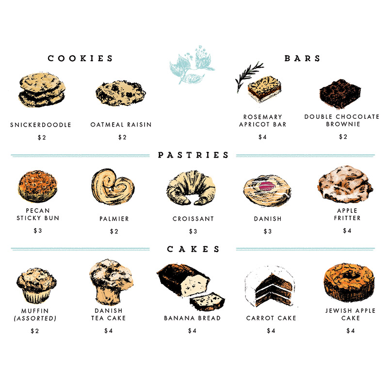 June 2016 Blog Posts - Pastry Guide for local Baltimore gem Park Cafe illustrated by Laura Shema for Jolly Edition