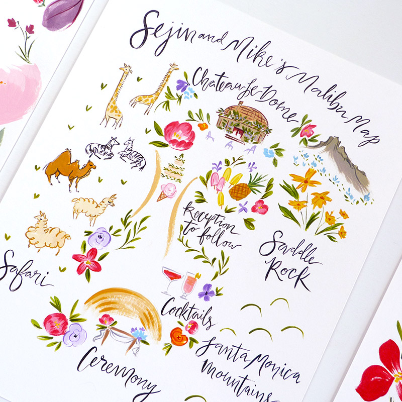Jolly Edition June 2016 Blog Post. Malibu wedding Map with Safari animals, llamas, zebras, giraffes. Illustration by Laura Shema for Jolly Edition.
