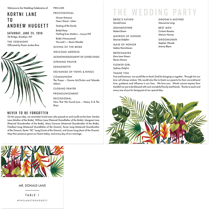 June 2016 Blog Post - new york tropical programs and table cards illustrated by Laura Shema for Jolly Edition