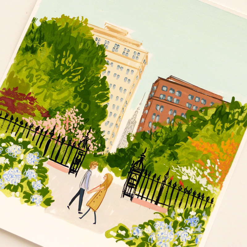 August 2016 Blog Posts -gramercy gouache painting for Save the Date. illustrated by Laura Shema for Jolly Edition