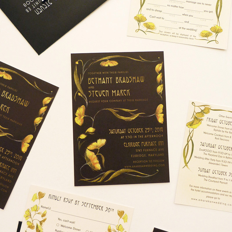 August 2016 Blog Posts -  deco ginko leaved, gold, black and ivory invitation. illustrated by Laura Shema for Jolly Edition