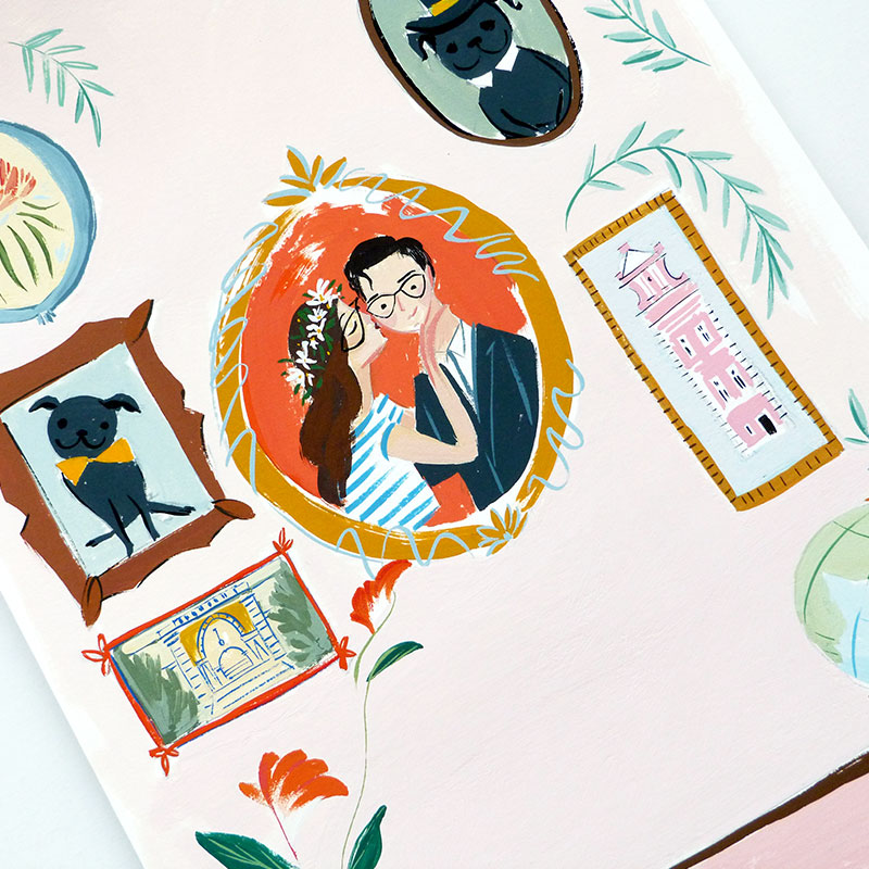 August 2016 Blog Posts - gallery wall gouache painting for Save the Date. illustrated by Laura Shema for Jolly Edition