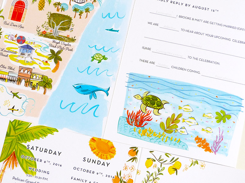 Florida Map pull out  wedding invitation illustrated by Laura Shema for Jolly Edition.