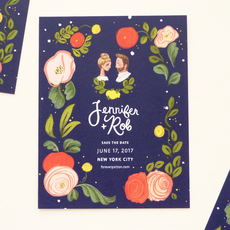 August 2016 Blog Posts -  celestial, floral, bust portrait Save the Date. illustrated by Laura Shema for Jolly Edition