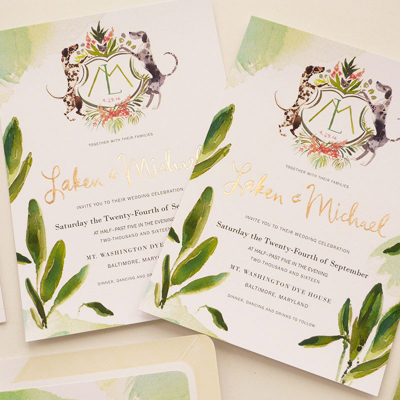 August 2016 Blog Posts - crest, watercolor, rose gold foil printing invitation. illustrated by Laura Shema for Jolly Edition