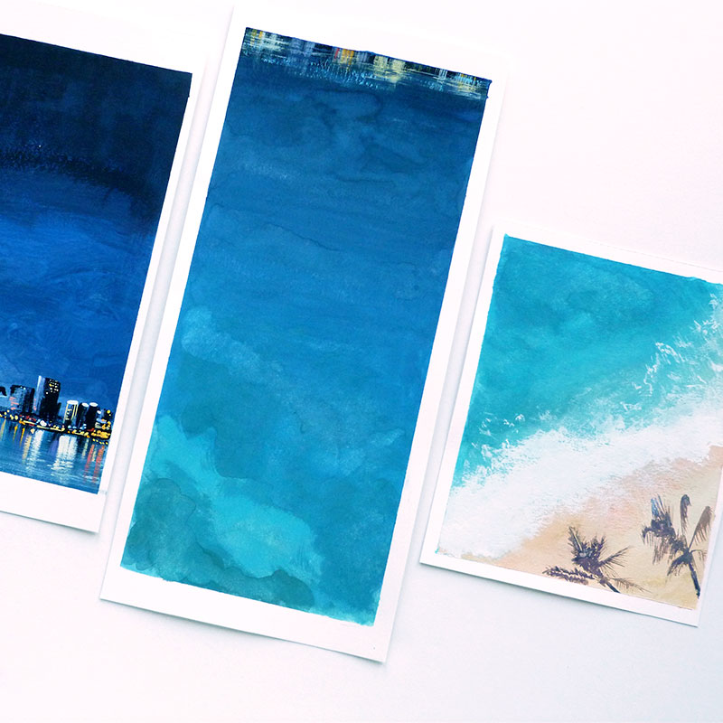 August 2016 Blog Posts - original pieces for a bold Miami wedding of the sky, ocean and shoreline. illustrated by Laura Shema for Jolly Edition