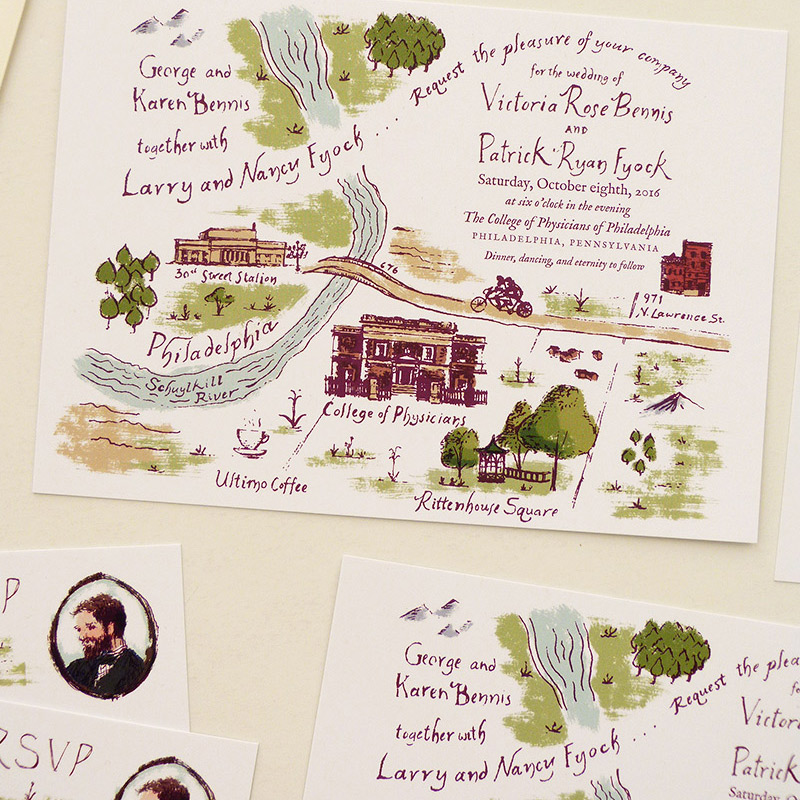 August 2016 Blog Posts - Tolkien inspired Philly invitation and rsvp. illustrated by Laura Shema for Jolly Edition