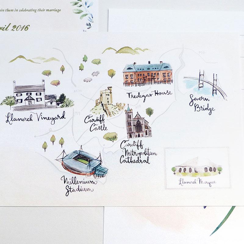 Hattie and Alun's custom invitation design by Jolly Edition
