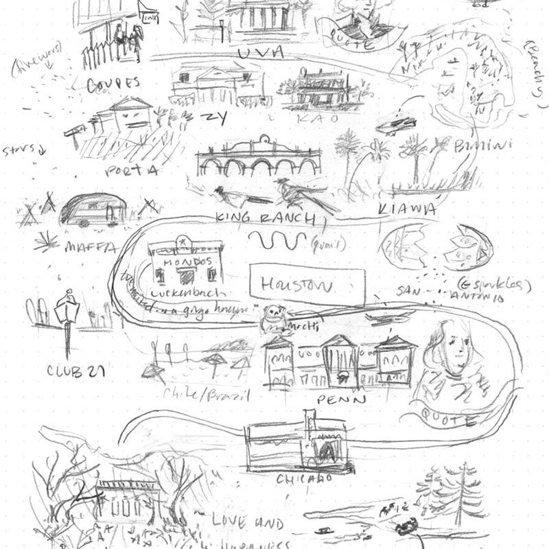 Natalie and James' custom map design sketch by Jolly Edition