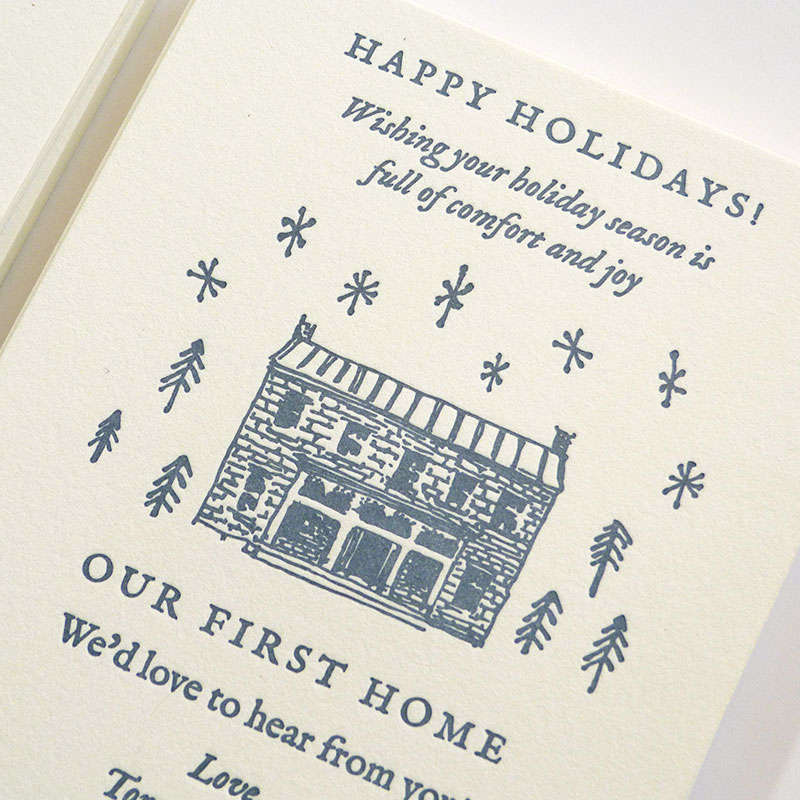 Blog Post November 2016 Our New Home letterpress printed announcement designed by Laura Shema