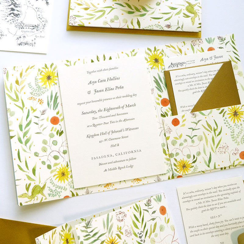 Blog Post December 2016 tri-fold, mounted invitation with patterns, and metallics by Laura Shema