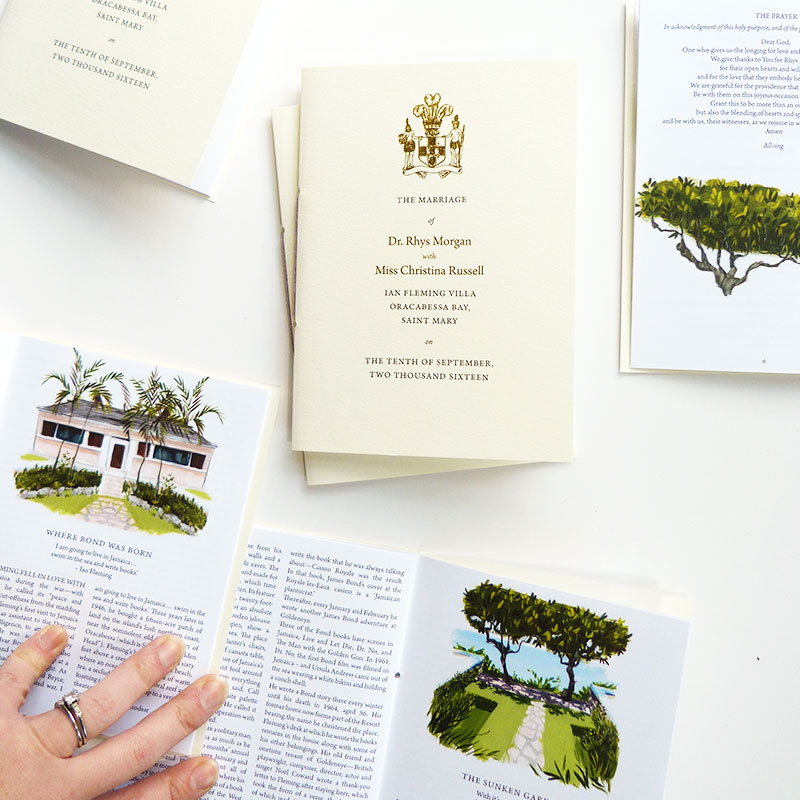 Blog Post November 2016 Gold foil cover and illustrated program for Jamaican and Welsh wedding by Laura Shema for Jolly Edition.