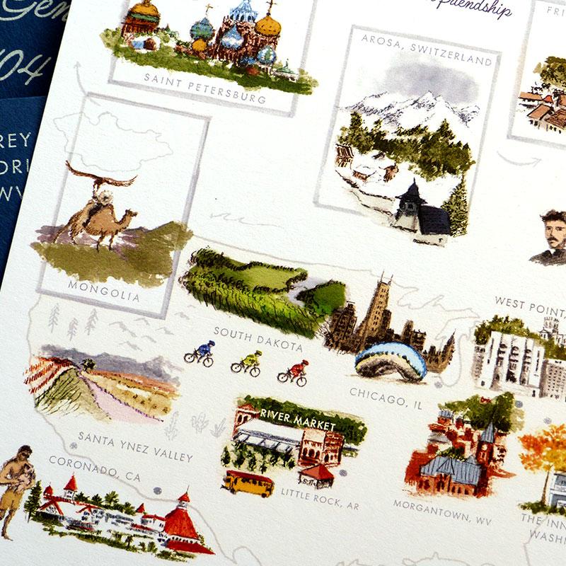 Blog Post November 2016 Destination map invitation to 40th birthday by Laura Shema