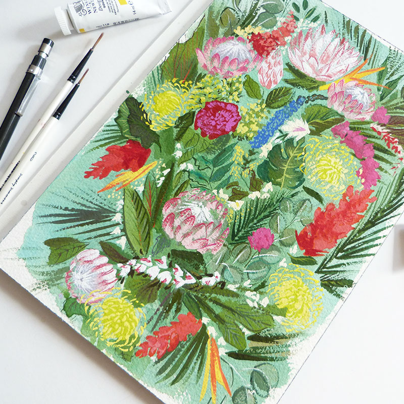 Jolly Edition Blog Post February 2017 Original painting tropical flowers