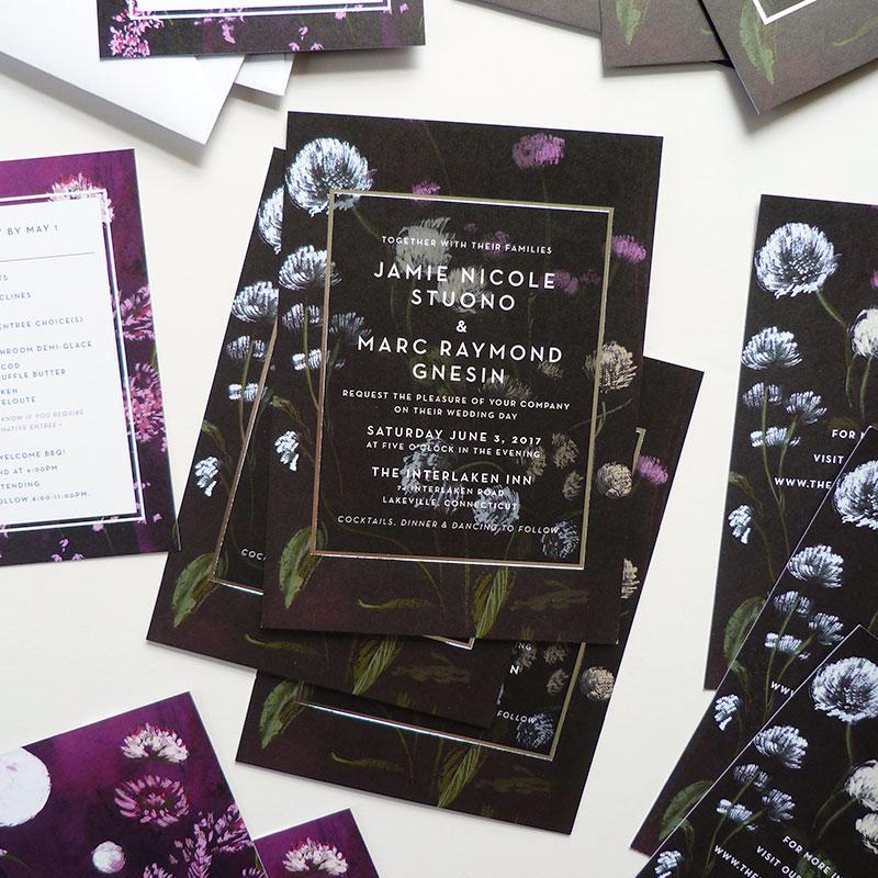 Jolly Edition Blog Post April 17 Contrasting siler foil NJ wedding invitation