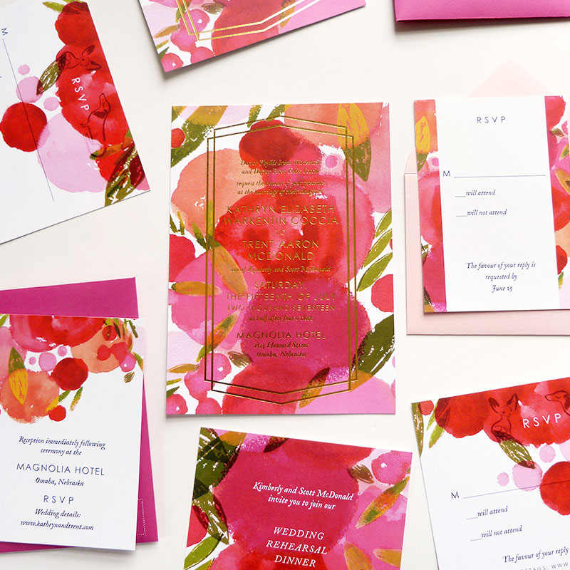 Jolly Edition Blog Post Mar 17 colorful gold foil wedding stationery set
