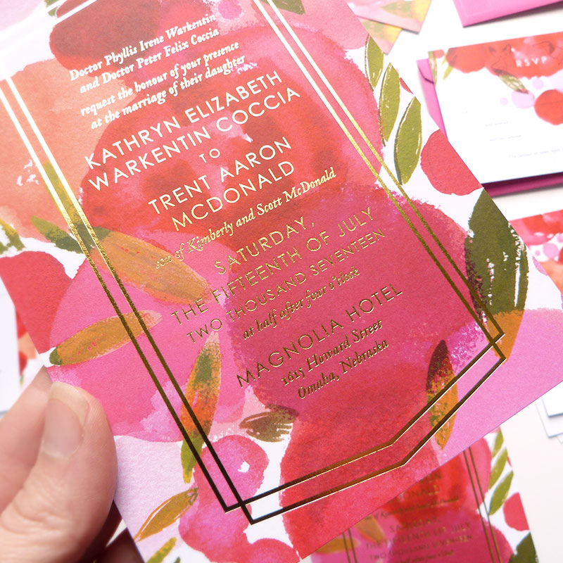 Jolly Edition Blog Post Mar 17 colorful gold foil wedding stationery set